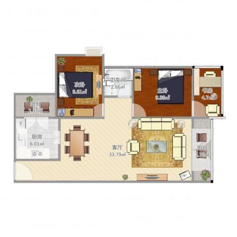 中环星座3室1厅1卫1厨92.00㎡户型图