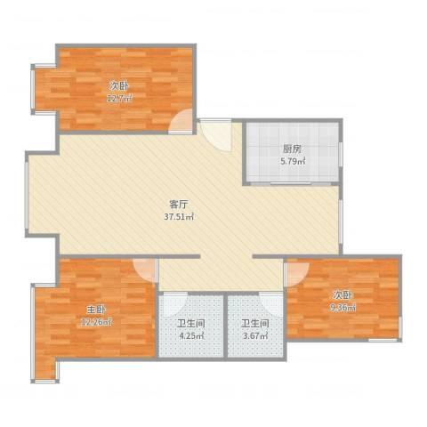 东湖湾C3-西单元-东户3室1厅2卫1厨107.00㎡户型图