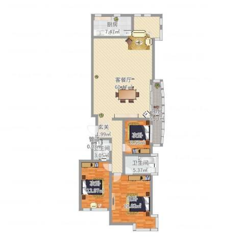 中道山水御园3室2厅2卫1厨154.00㎡户型图