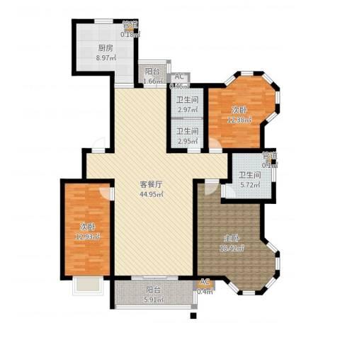 绿洲新城3室2厅3卫1厨136.00㎡户型图