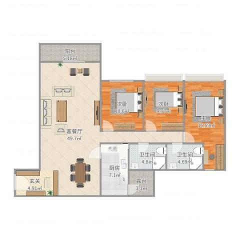 能源华庄3室2厅2卫1厨138.00㎡户型图