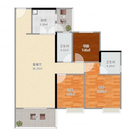荔园悦享星醍3室2厅2卫1厨113.00㎡户型图