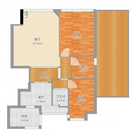 中央花园3室2厅1卫1厨129.00㎡户型图