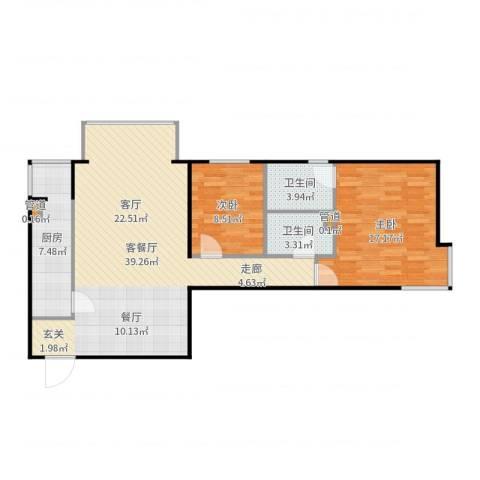 北苑家园莲葩园2室2厅2卫1厨100.00㎡户型图