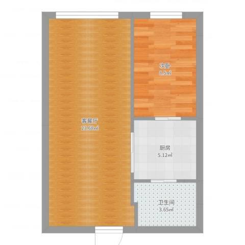远洋广场1室2厅1卫1厨51.00㎡户型图