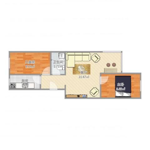 花家地南里2室1厅1卫1厨56.00㎡户型图