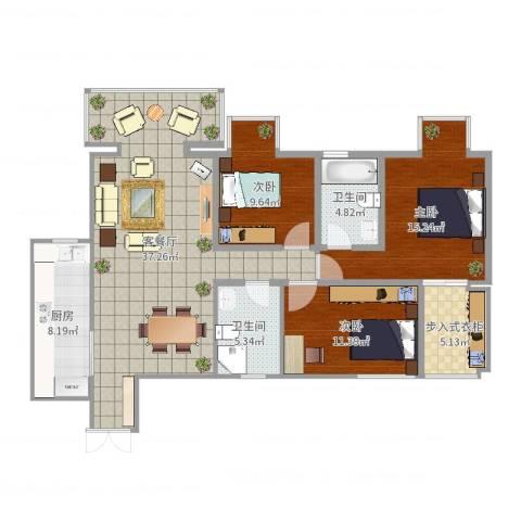 山水文苑3室2厅2卫1厨121.00㎡户型图