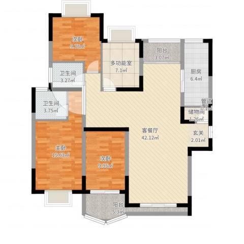 万科运河东1号银华院3室2厅2卫1厨135.00㎡户型图