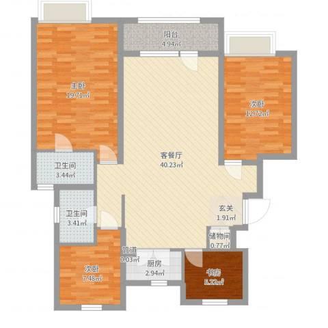 沈阳龙湖香醍漫步4室2厅2卫1厨126.00㎡户型图