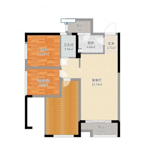 晟凡・兴龙湖一号1室2厅1卫1厨108.00㎡户型图