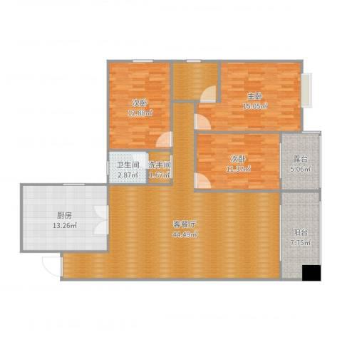 阳光新城4栋谢总3室2厅1卫1厨148.00㎡户型图