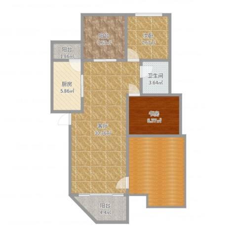 锦尚名苑2室1厅1卫1厨107.00㎡户型图