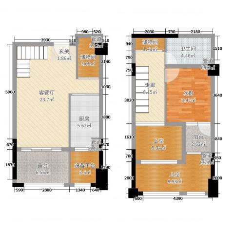高速滨湖时代广场金融中心1室2厅1卫1厨84.51㎡户型图