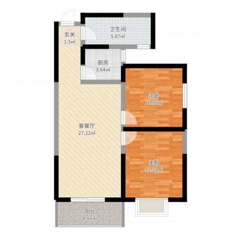 颐和郡2室2厅1卫1厨81.00㎡户型图