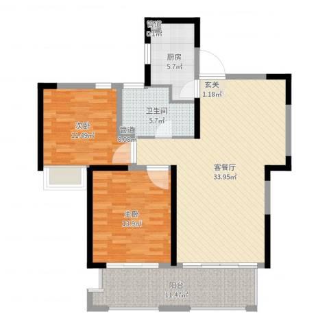 盛和花半里2室2厅1卫1厨103.00㎡户型图