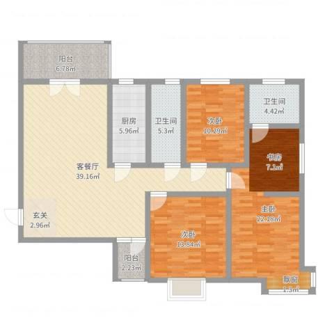 西溪里象牙湾3室2厅2卫1厨138.00㎡户型图