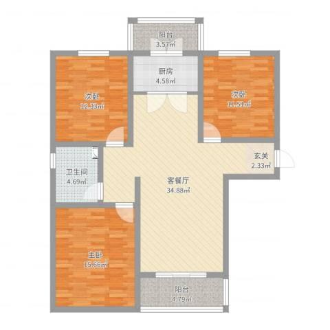 宿迁盛世嘉园3室2厅1卫1厨115.00㎡户型图