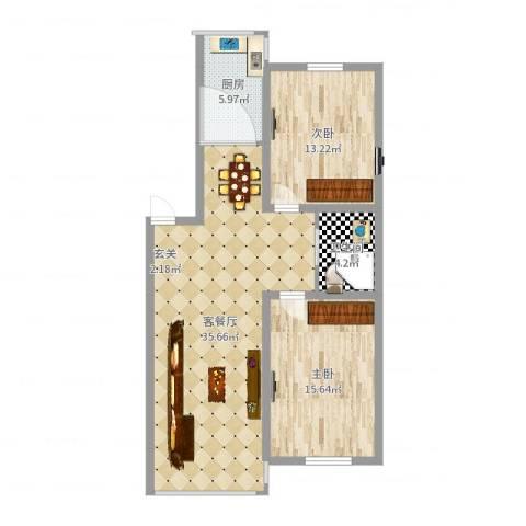 富吉家园2室2厅1卫1厨93.00㎡户型图