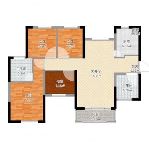 惠阳恒大棕榈岛4室2厅2卫1厨115.00㎡户型图