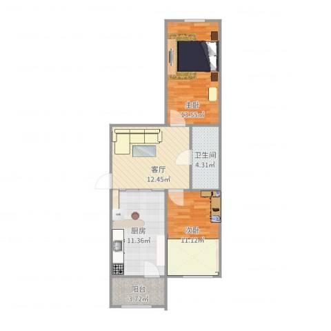 宣西小区2室1厅1卫1厨71.00㎡户型图