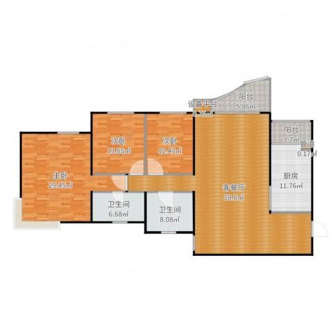 佳禾钰茂豪俊阁3室2厅2卫1厨189.00㎡户型图