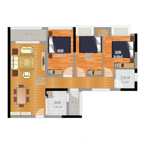 卓越时代广场3室2厅1卫1厨88.00㎡户型图