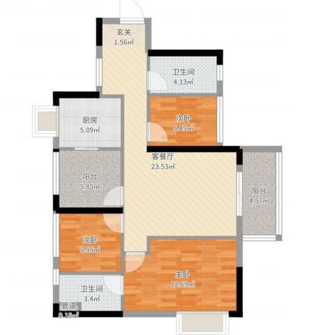 佛山大沥雅居乐御景豪庭3室2厅2卫1厨89.00㎡户型图