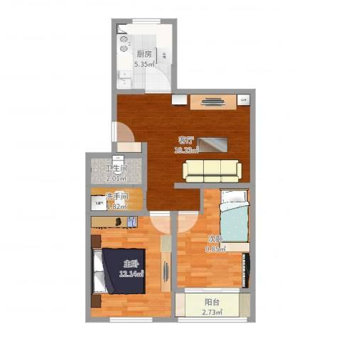 华苑居华里4-1-6012室1厅1卫1厨65.00㎡户型图