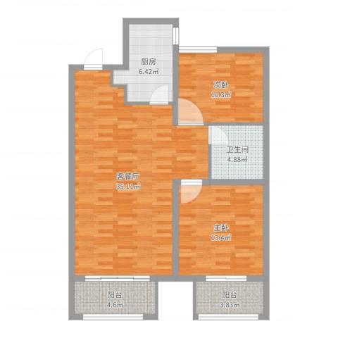 华润凯旋门2室2厅1卫1厨98.00㎡户型图