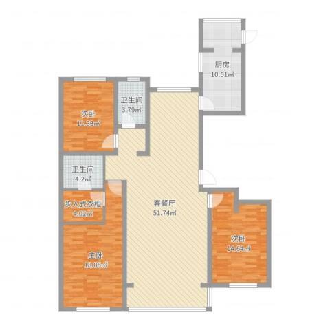 水岸华庭3室2厅2卫1厨148.00㎡户型图