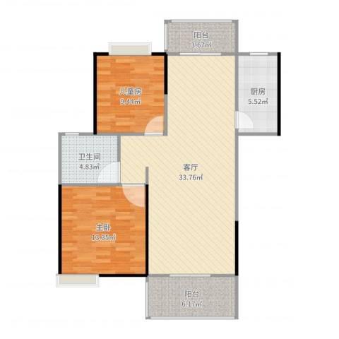 世纪城龙兴苑2室1厅1卫1厨96.00㎡户型图