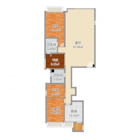 御翠园4室1厅2卫1厨179.00㎡户型图