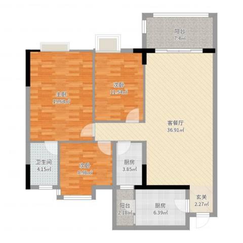 逸湖半岛3室2厅1卫2厨126.00㎡户型图