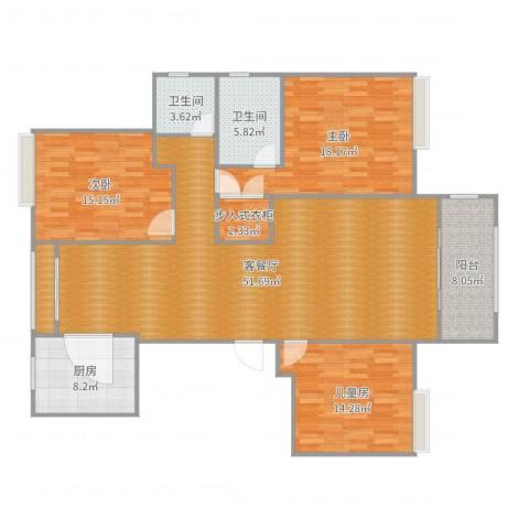 和安家园3室2厅2卫1厨143.00㎡户型图