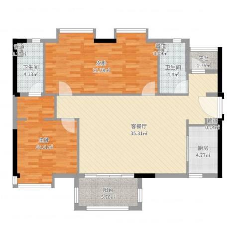 万科MAGA社区2室2厅4卫2厨117.00㎡户型图