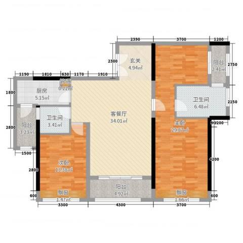 上景中心2室2厅2卫1厨136.00㎡户型图