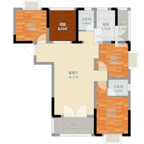 枫树园二期4室2厅2卫1厨121.00㎡户型图