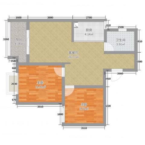 安泰未来城2室2厅1卫1厨75.00㎡户型图