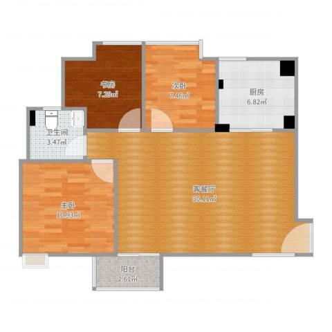晟大海湾城3室2厅1卫1厨86.00㎡户型图