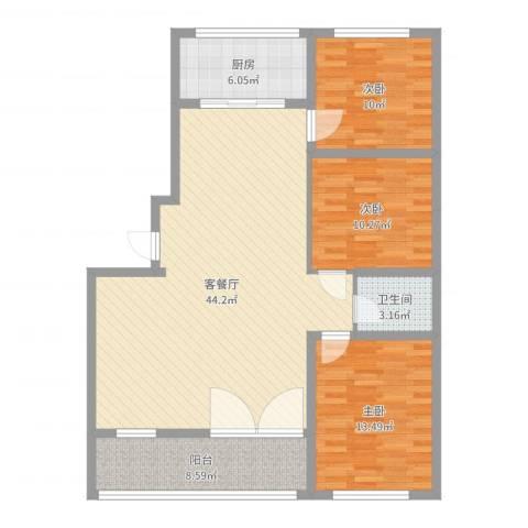 时代中通首府3室2厅1卫1厨120.00㎡户型图