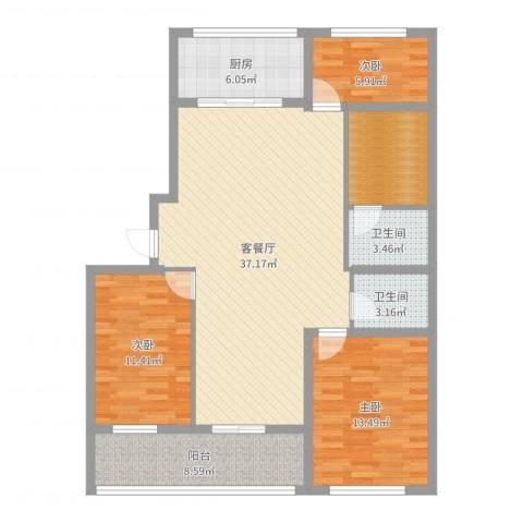 时代中通首府3室2厅2卫1厨119.00㎡户型图