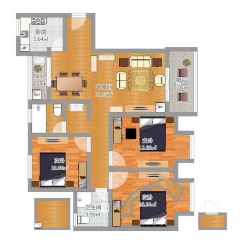 银康苑(三室一厅1)3室2厅1卫1厨115.00㎡户型图