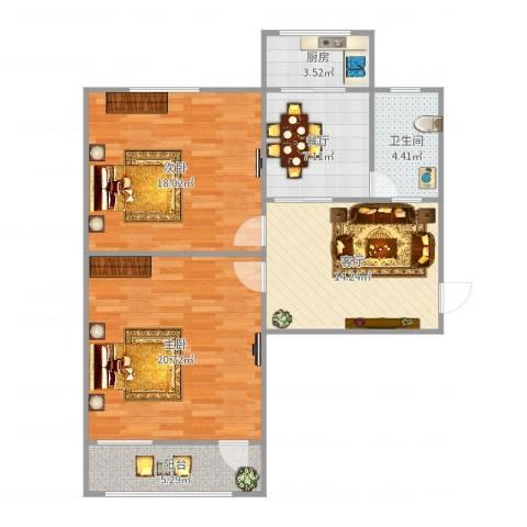 工业南路单位宿舍2室2厅1卫1厨92.00㎡户型图