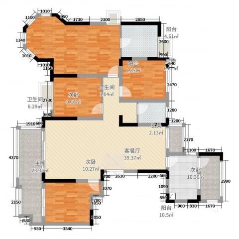 恒茂城市之光4室2厅2卫1厨158.00㎡户型图