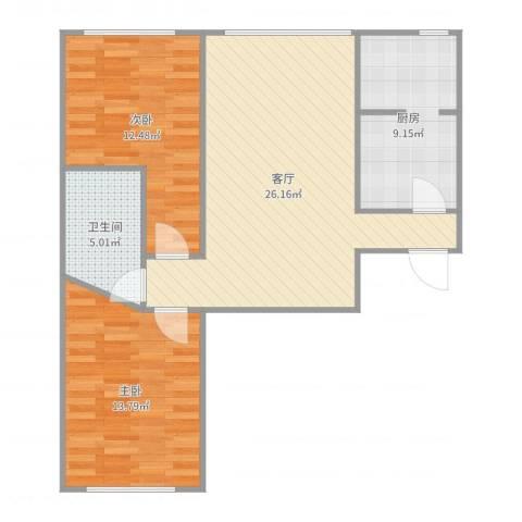 K2·京南狮子城2室1厅1卫1厨83.00㎡户型图