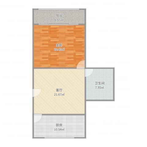车站新村1室1厅1卫1厨84.00㎡户型图