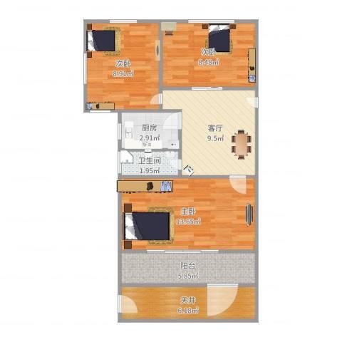 车站新村3室1厅1卫1厨72.00㎡户型图
