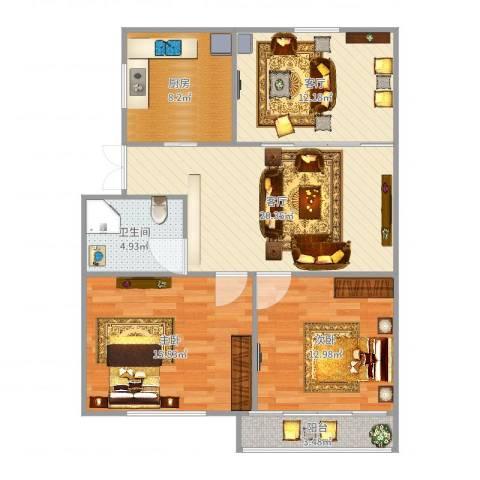 车站新村2室2厅1卫1厨97.00㎡户型图