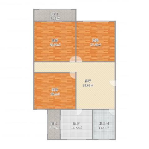 车站新村3室1厅1卫1厨207.00㎡户型图