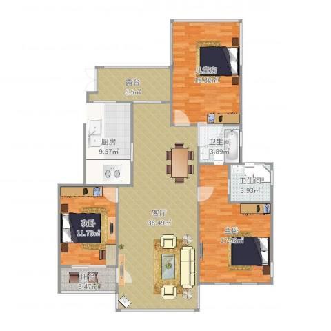恒升紫悦府3室1厅2卫1厨142.00㎡户型图